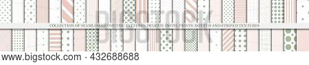 Collection Of Vector Geometric Seamless Patterns. Simple Dotted And Striped Textures, Endless Minima