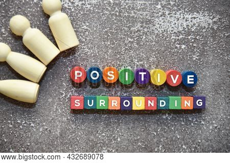 Wooden Dolls Lie Down With Positive Surrounding Wording On The Colorful Wooden Blocks. Lifestyle Con
