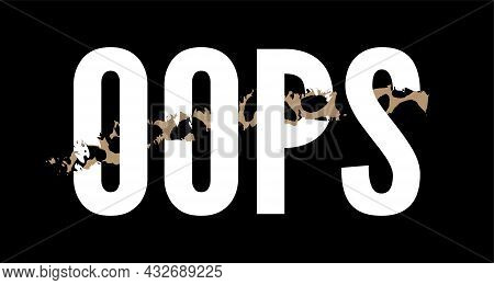 Slogan Oops Phrase Graphic Vector Leopard Print Fashion Lettering