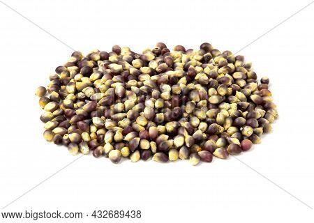 Black Maize Kernels On A White Background