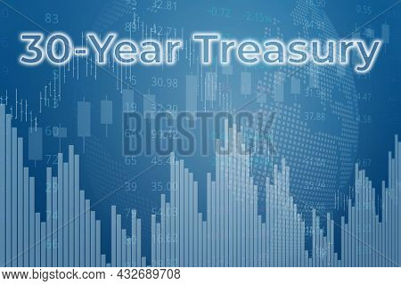 Price Change On Trading Bonds 30-year Treasury On Blue Finance Background From Graphs, Charts, Colum