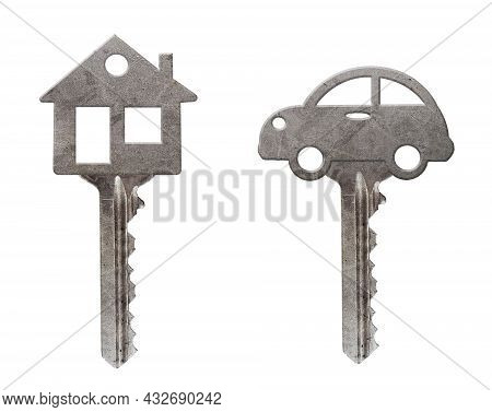 There Are A House Key And A Car Key. White Background. Isolated.