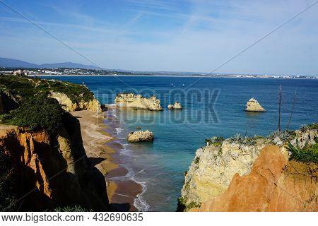 Beautiful Bay Near Lagos Town, Algarve Region, Portugal. Sandy Beach. Portuguese Landmark, Popular T