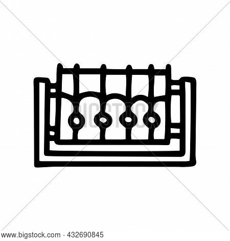 Forged Fence Black Line Vector Doodle Simple Icon