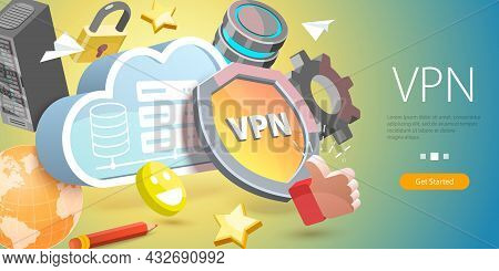 3d Vector Conceptual Illustration Of Vpn - Virtual Private Network, Secure Network Connection And Pr