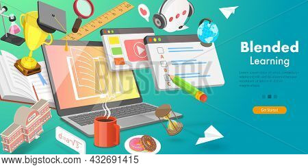 3d Vector Conceptual Illustration Of Blended Learning Approach, Combining Online Education With Trad