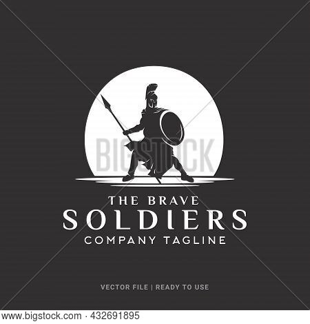 Silhouette Of Brave Soldier, Spartan Soldier With Spear And Shield Logo Design Concept. Suitable For