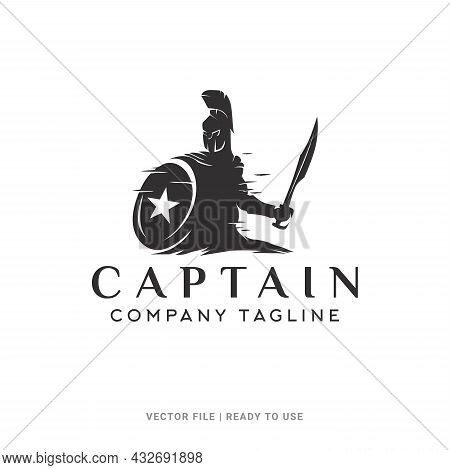 Spartan Knight With Shield And Sword Silhouette Vector, Sparta Captain Logo Design With Star On Shie