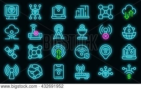 Internet Connection Icons Set. Outline Set Of Internet Connection Vector Icons Neon Color On Black