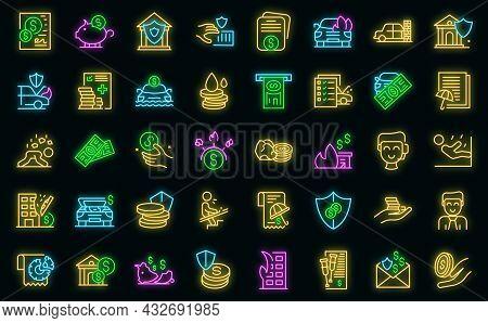 Compensation Icons Set. Outline Set Of Compensation Vector Icons Neon Color On Black