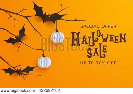Hand Drawn Halloween Sale Background. Horror Halloween Poster With Hand Lettering And Decoration Ele