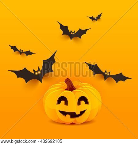 Halloween Background. Horror Halloween Poster With Smiling Pumpkin And Bats. Party Invitation, Card