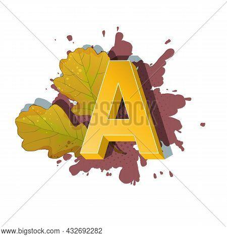 Autumn 3D Pop Art Alphabet - Colorful Bold Letter A
