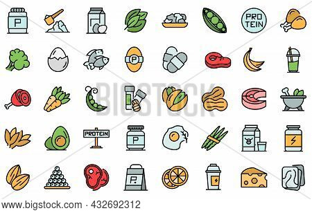 Protein Nutrient Icon. Outline Protein Nutrient Vector Icon Thin Line Color Flat Isolated On White