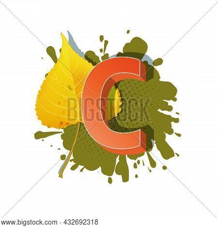 Autumn 3D Pop Art Alphabet - Colorful Bold Letter C