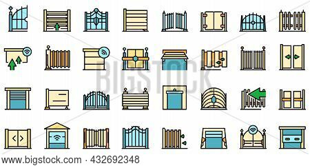 Automatic Gate Icon. Outline Automatic Gate Vector Icon Thin Line Color Flat Isolated On White