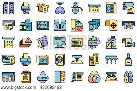 Digital Printing Icons Set. Outline Set Of Digital Printing Vector Icons Thin Line Color Flat Isolat