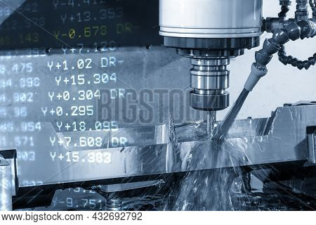 The Abstract Scene Cnc Milling Machine Cutting The  Mold Parts And G-code Data Background. The Mold