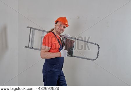 Shows The Class And A Worker Is Holding A Stepladder On His Shoulder