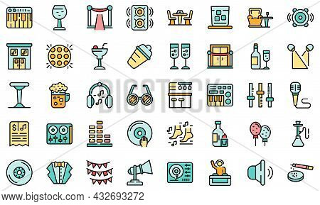 Night Club Icons Set. Outline Set Of Night Club Vector Icons Thin Line Color Flat Isolated On White