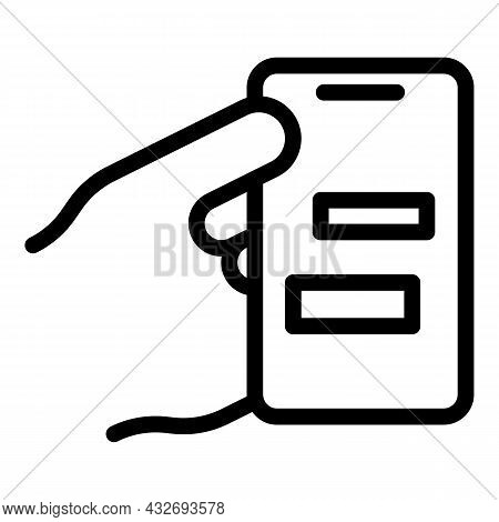 Hand Holding New Phone Icon Outline Vector. Smart Cellphone. Using Smartphone