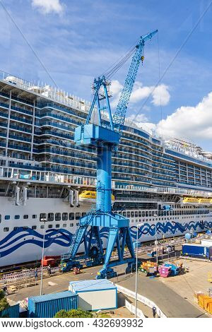 Papenburg, Germany - August 24, 2021: New Cruise Ship Aida Cosma At Shipyard Meyer In Papenburg Larg