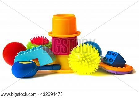 Set Toys, Isolated On White Background. Many Colorful Toys Collection. Composition With Colorful Pla