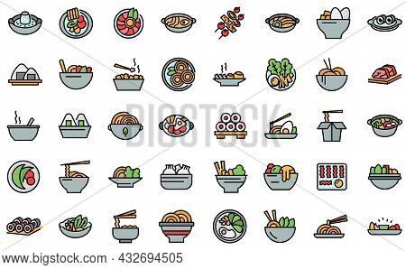 Korean Cuisine Icons Set. Outline Set Of Korean Cuisine Vector Icons Thin Line Color Flat Isolated O