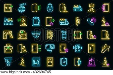 Human Evacuation Icons Set. Outline Set Of Human Evacuation Vector Icons Neon Color On Black