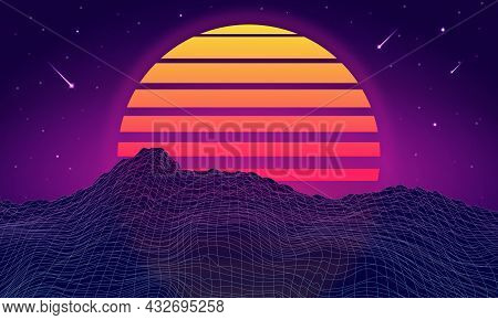 Retro Futuristic Background With Mountains. Retrowave And Synthwave Style Illustration Of Mountain,