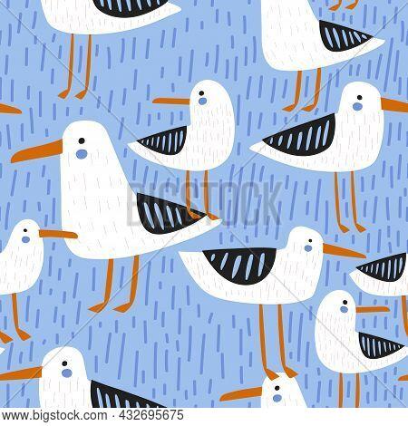 Seamless Seagulls Pattern. Creative Nautical Background. Vector Illustration