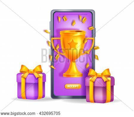 Online Reward Gift Vector Concept, Loyalty Program Bonus Prize, Golden Winner Cup, Smartphone Screen