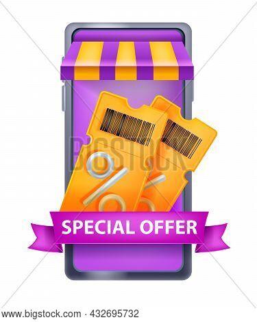 3d Vector Discount Coupon Illustration, Smartphone Screen, Mobile App, Online Shop Concept On White.