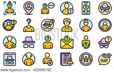 Anonymous Icons Set. Outline Set Of Anonymous Vector Icons Thin Line Color Flat Isolated On White