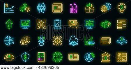 Emerging Market Icons Set. Outline Set Of Emerging Market Vector Icons Neon Color On Black