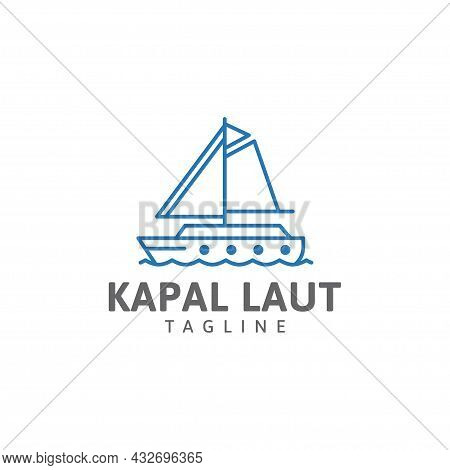 Sailing Boat Line Logo, Ocean Waves, Ship, Circle Vector Design Template