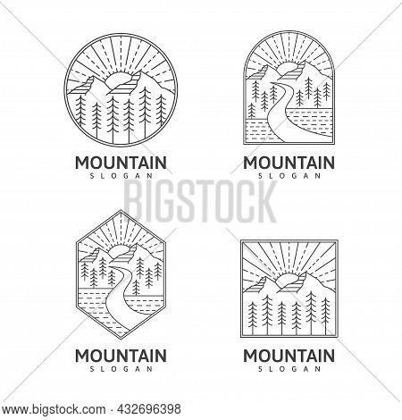 Collection Mountain Monoline Or Line Art Style Outdoor Nature Vector Illustration