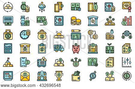 Bank Reserves Icons Set. Outline Set Of Bank Reserves Vector Icons Thin Line Color Flat Isolated On