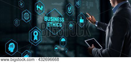 Business Ethics Behavior And Manners Concept. Businessman Pressing Button On Virtual Screen