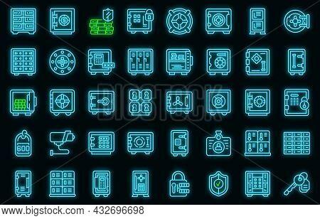 Deposit Room Icons Set. Outline Set Of Deposit Room Vector Icons Neon Color On Black