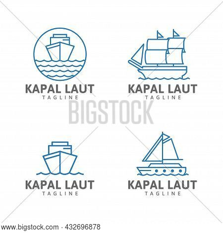 Collection Ship Logo, Ocean Waves, Ship, Circle, Sailing Boat, Sailing Ship Vector Design Template