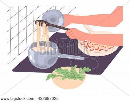 A Person Cooks Food At Home, Cooks Spaghetti