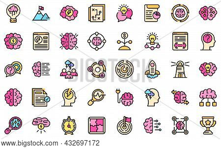 Brainstorming Icons Set. Outline Set Of Brainstorming Vector Icons Thin Line Color Flat Isolated On