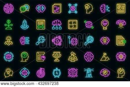 Brainstorming Icons Set. Outline Set Of Brainstorming Vector Icons Neon Color On Black