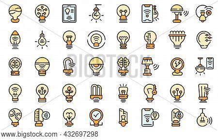 Smart Lightbulb Icons Set. Outline Set Of Smart Lightbulb Vector Icons Thin Line Color Flat Isolated