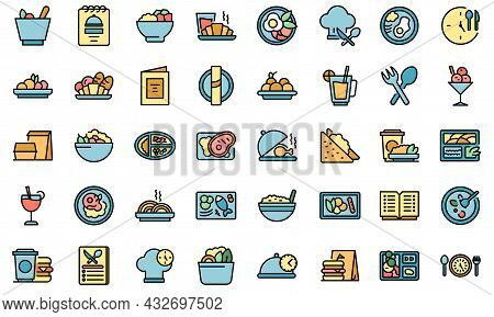 Business Lunch Icons Set. Outline Set Of Business Lunch Vector Icons Thin Line Color Flat Isolated O