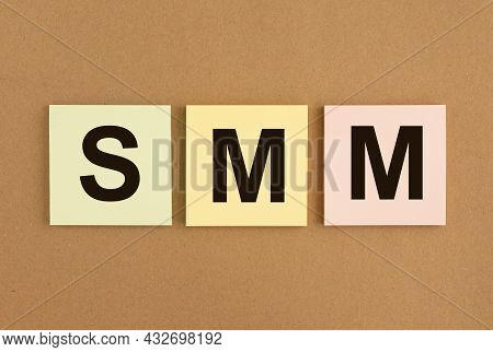 Smm Acronym On Sticky Notes. Social Media Marketing.