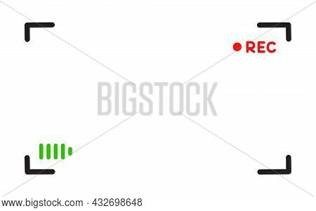 Viewfinder Vector Template Doodle Style- Record Frame For Camera. Night Camera Military Viewfinder O
