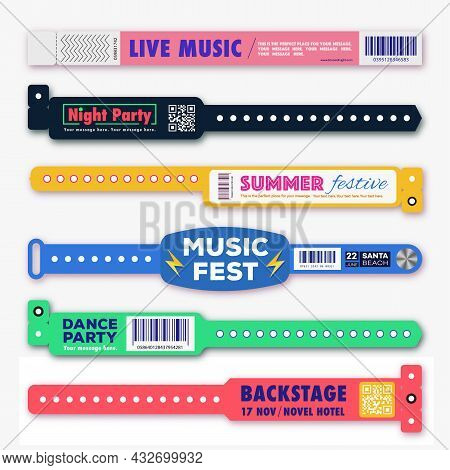 Bracelet Plastic Event Access Vector Set Template Different Style For Id Fan Zone Or Vip, Party Entr