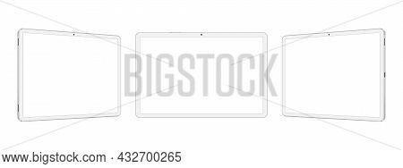 White Tablet Computers Mockups With Blank Horizontal Screens, Front And Side View, Isolated On White
